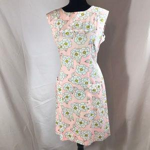 Vintage Mid Century Pastel Pink Floral Dress
